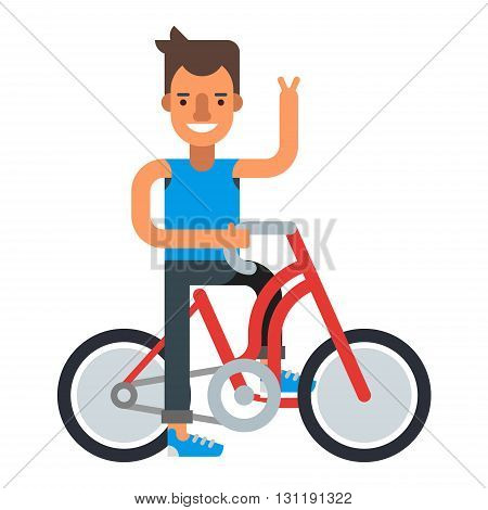 Smiling man with bycicle. Flat vector illustration isolated on white background.