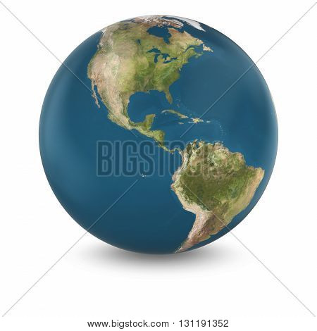 3D Illustration Of Cloudless Planet Earth Isolated On White - Elements Of This Image Furnished By Na