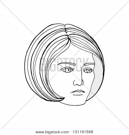 Vector illustration. Young woman face. Female face as a logo or an emblem in linear style. Girl face sketch as design element for decor beauty products beauty salon barbershop cosmetics perfumery.