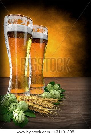 two glasses of beer with barley and hops on wooden table - 3D render