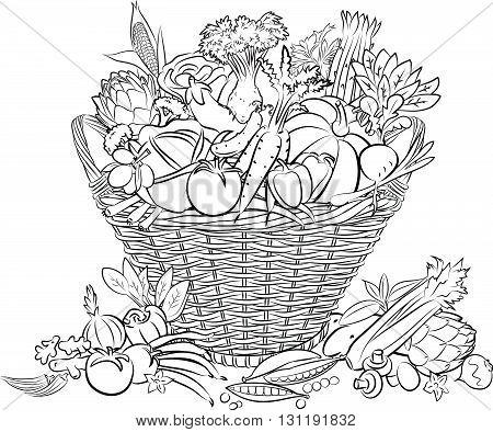 vector illustration of basket full of vegetables in line art mode