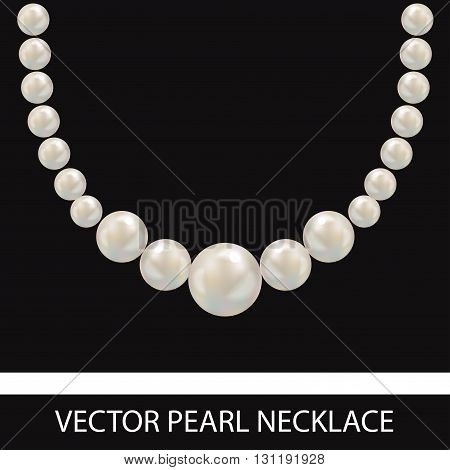 Pearl Necklace. Realistic Vector Illustration. Black Background.