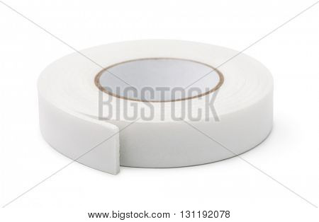 Double sided foam tape isolated on white