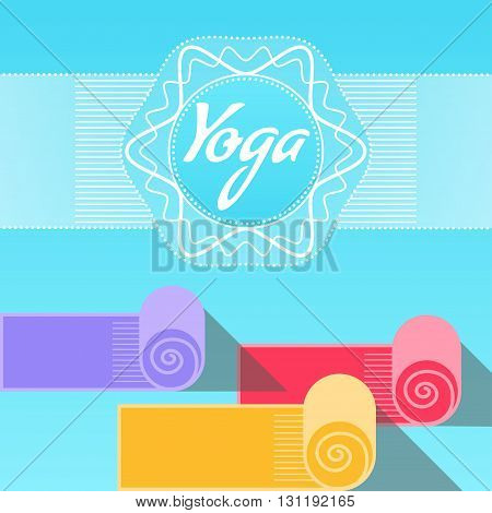 Vector illustration. Template of poster for International Yoga Day. Placard for 21 June Yoga day. Yoga poster with yoga mats and text on ethnic ornament background. Linear design element. Flat style.