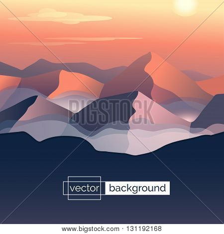 Flat design vector illustration. Landscape with mountains sun and clouds in gradient colors. Template of banner backdrop poster or splash screen in cartoon style. Screensaver design. Game background