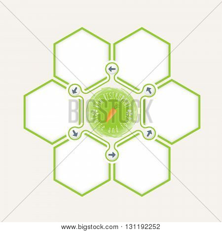 Abstract hexagons for your text and raw restaurant icon