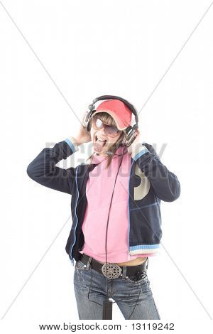 Portrait of a styled professional model. Theme: TEENS, MUSIC
