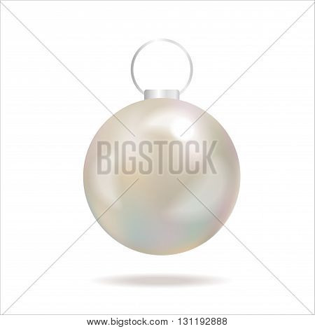 White pearl. White sphere on white background. Holiday christmas toy for fir tree.