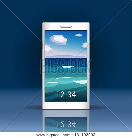 Vector illustration. Smartphone screen with sea landscape. Smartphone mockup with login screen in trendy flat style. Vertical format for mobile phone screen. Natural vector background.