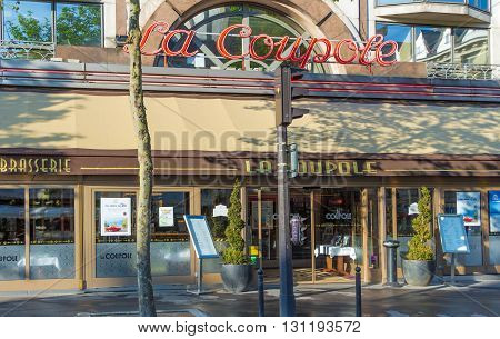 Paris; France-May 16 2016: The famous parisian cafe La Coupole located in Montparnasse area of Paris.This trendy place attracted the great artists and personalities of the literary and art worlds : Cocteau Dali Picasso Hemingway...It hosted Josephine Bake