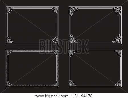 Decorative vector vintage frames and borders set. Baroque decorative frames. Black and white