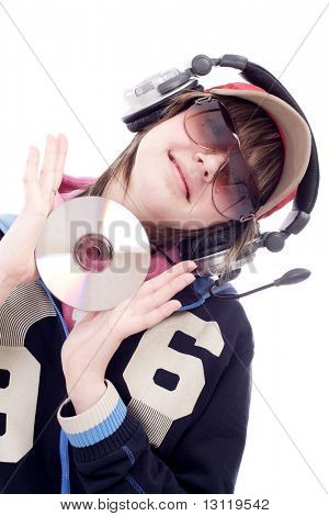 Portrait of a styled professional model. Theme: TEENS, MUSIC,