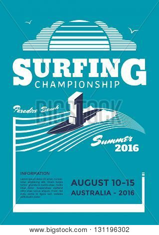 Surfing championship poster design. Surf flyer template. Vector illustration