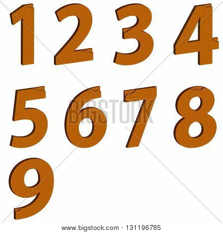 Abstract set of numerology masonry on white background