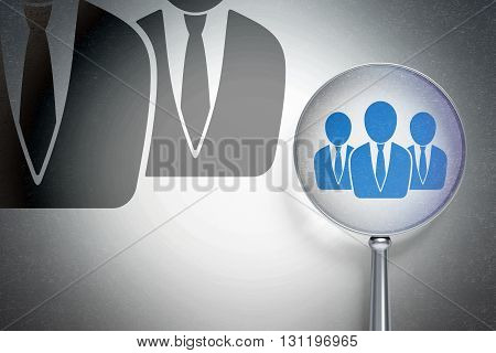 Finance concept: magnifying optical glass with Business People icon on digital background, empty copyspace for card, text, advertising, 3D rendering