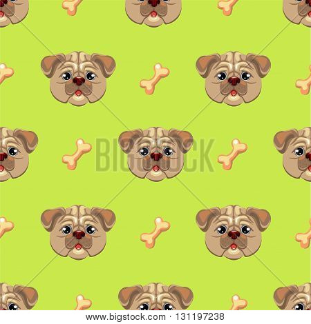 Seamless pattern with pug puppy. Hand drawn vector illustration of dog head on a lime background