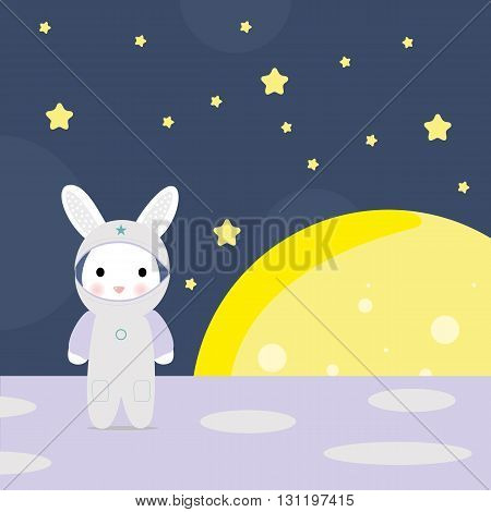 Funny bunny astounaut on the moon, stock vector illustration