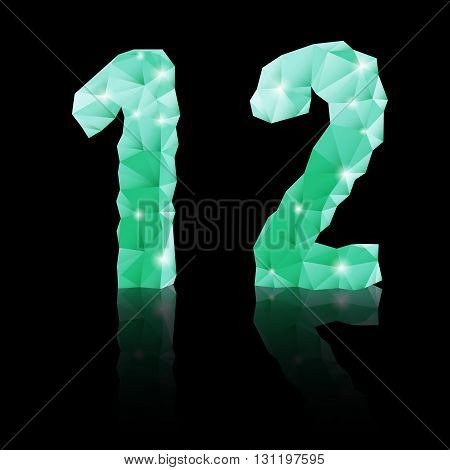 Shiny emerald green polygonal font with reflection on black background. Crystal style 1 and 2 numerals