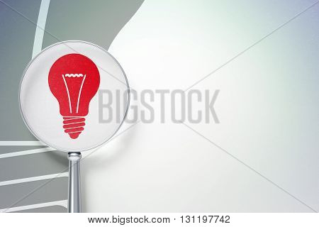 Business concept: magnifying optical glass with Light Bulb icon on digital background, empty copyspace for card, text, advertising, 3D rendering