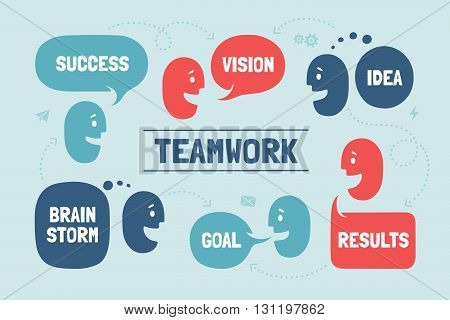 Team people with different shapes cloud talk or bubble for business themes. Business people teamwork for website banner or landing page. Vector Illustration