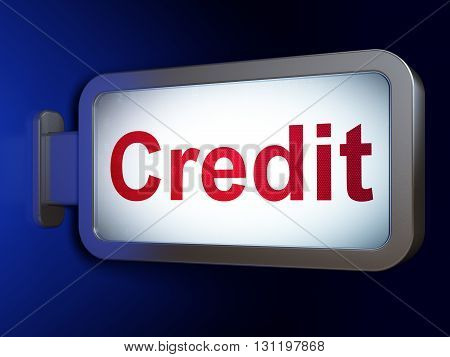 Business concept: Credit on advertising billboard background, 3D rendering