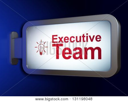 Business concept: Executive Team and Light Bulb on advertising billboard background, 3D rendering