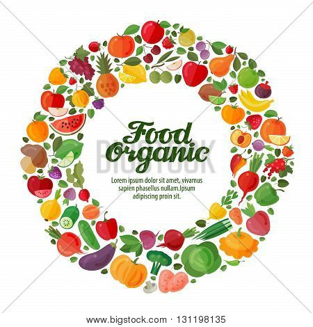 vector fruit and vegetable icons. organic food concept, template, brochure, flyer
