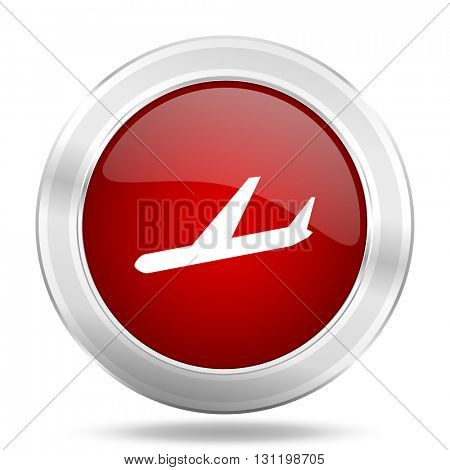 arrivals icon, red round metallic glossy button, web and mobile app design illustration