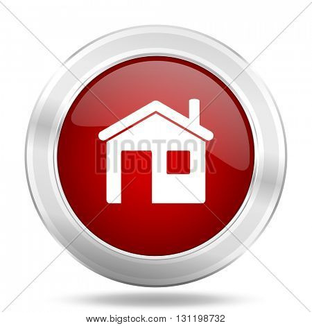 house icon, red round metallic glossy button, web and mobile app design illustration