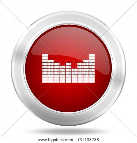 sound icon, red round metallic glossy button, web and mobile app design illustration