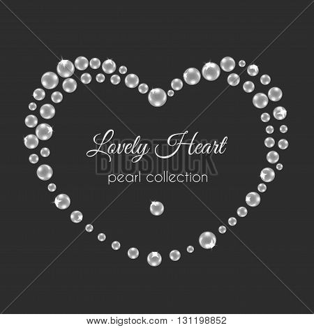 Pearl heart. Vector frame in heart shape. White pearls design with sparkles. Decorative wedding frame.