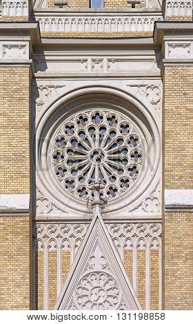 Round Window at The Name of Mary Roman Catholic Church in Novi Sad Serbia