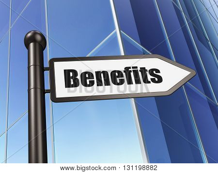 Business concept: sign Benefits on Building background, 3D rendering