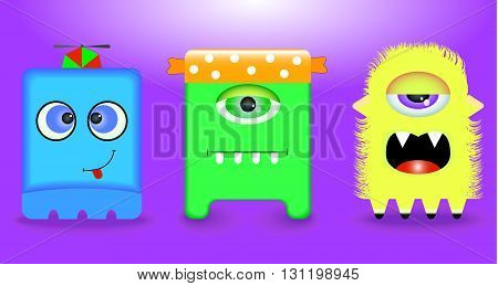 Funny monsters. 3 pieces. Yellow green blue