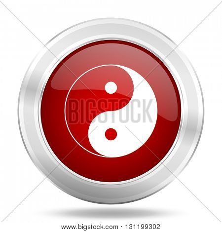 ying yang icon, red round metallic glossy button, web and mobile app design illustration