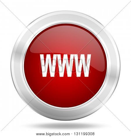 www icon, red round metallic glossy button, web and mobile app design illustration