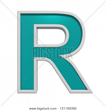 One letter from turquoise glass with white frame alphabet set. 3D illustration.