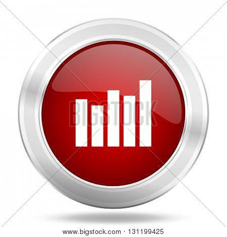 graph icon, red round metallic glossy button, web and mobile app design illustration