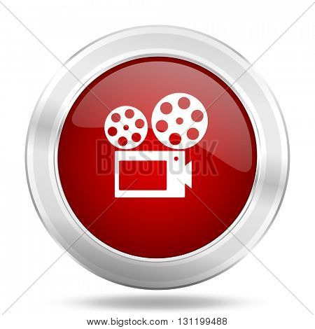 movie icon, red round metallic glossy button, web and mobile app design illustration