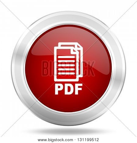 pdf icon, red round metallic glossy button, web and mobile app design illustration,