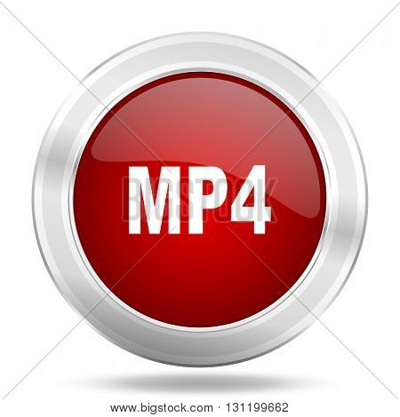 mp4 icon, red round metallic glossy button, web and mobile app design illustration