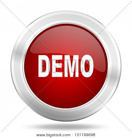 demo icon, red round metallic glossy button, web and mobile app design illustration