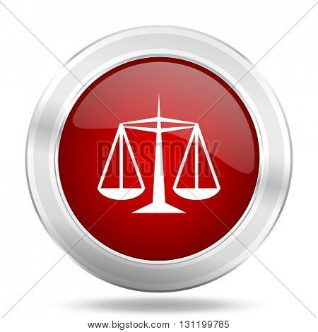 justice icon, red round metallic glossy button, web and mobile app design illustration