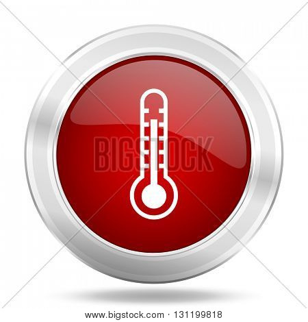 thermometer icon, red round metallic glossy button, web and mobile app design illustration