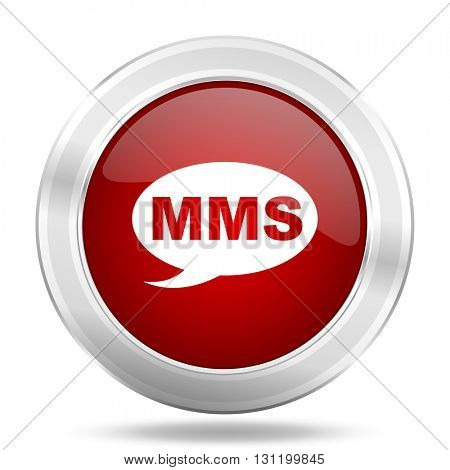 mms icon, red round metallic glossy button, web and mobile app design illustration