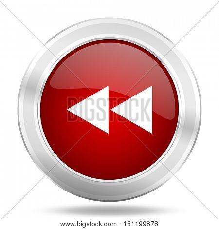 rewind icon, red round metallic glossy button, web and mobile app design illustration