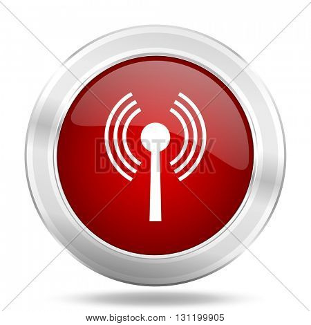 wifi icon, red round metallic glossy button, web and mobile app design illustration