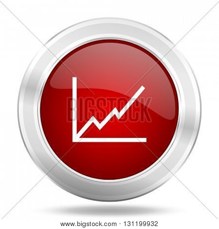 chart icon, red round metallic glossy button, web and mobile app design illustration
