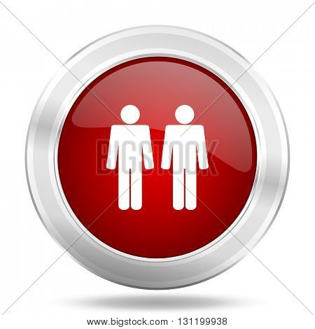 couple icon, red round metallic glossy button, web and mobile app design illustration