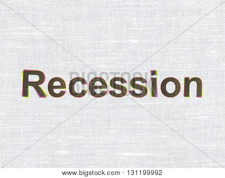 Finance concept: CMYK Recession on linen fabric texture background